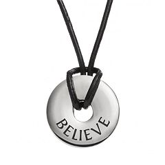 Steel City Stainless Steel & Leather 'Believe' Circle Pendant