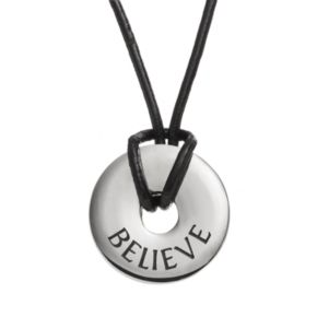 Steel City Stainless Steel and Leather ''Believe'' Circle Pendant