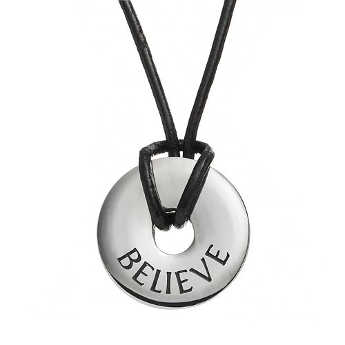 """Steel City Stainless Steel & Leather """"Believe"""" Circle Pendant"""