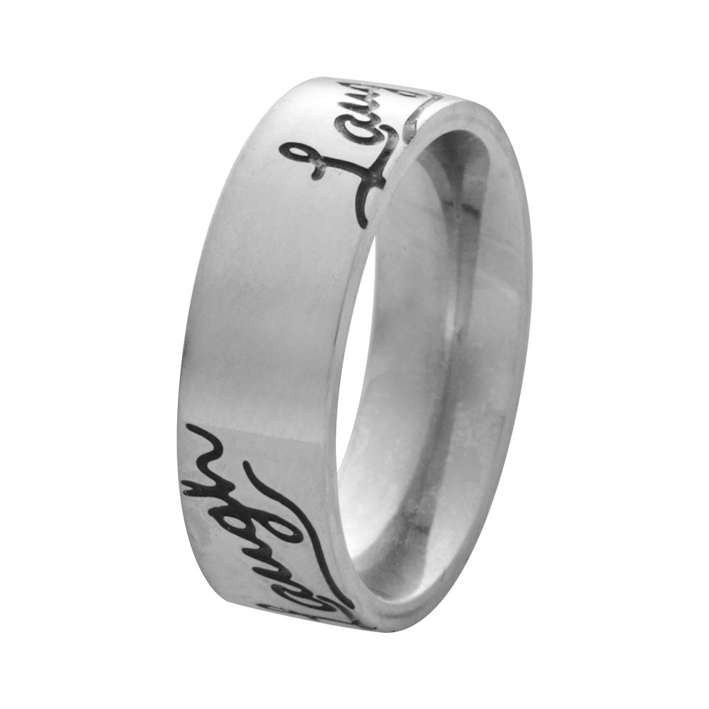 Stainless Steel Laugh Inspirational Ring