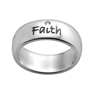 Stainless Steel Crystal Faith Inspirational Ring