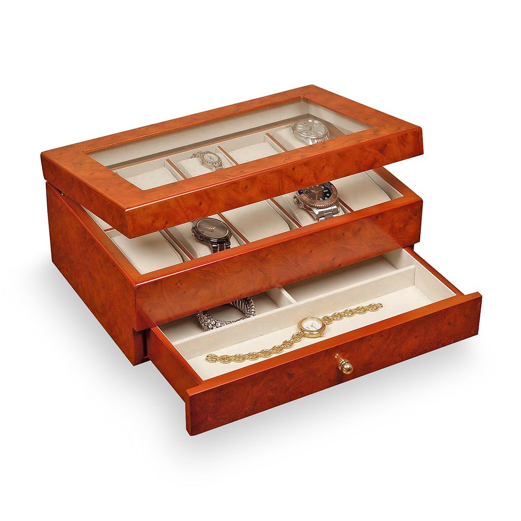 Mele & Co Burl Oak Watch Case