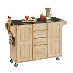 Black Granite Top Kitchen Cart by