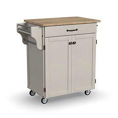 Wood Top Cuisine Kitchen Cart Cherry White