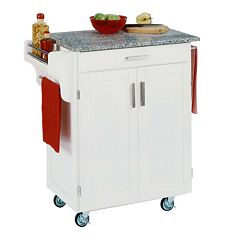 Granite-Top Cuisine White Kitchen Cart
