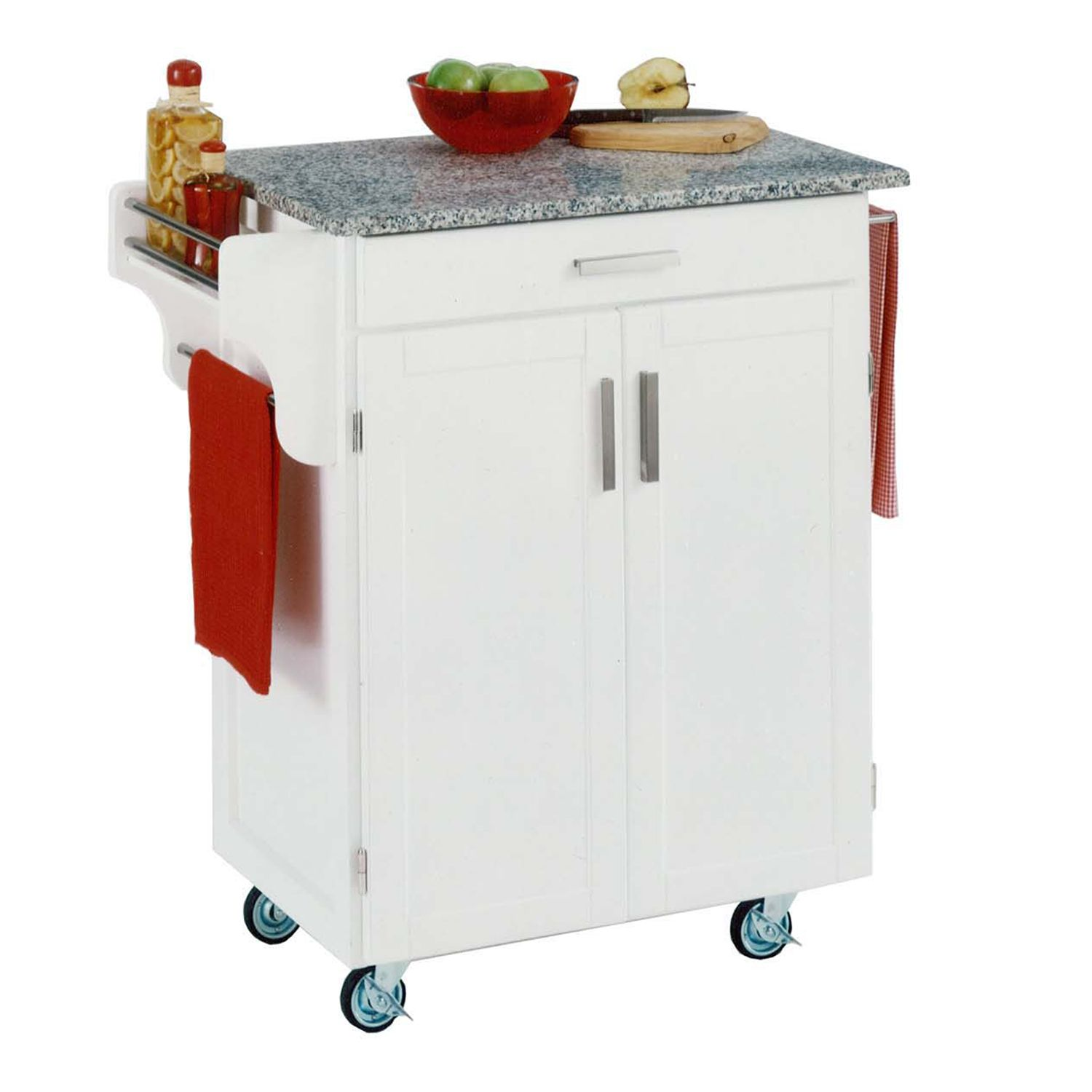 Granite Top Cuisine White Kitchen Cart