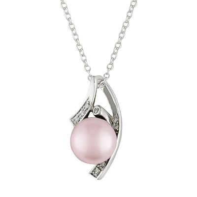 Stella Grace Sterling Silver Dyed Freshwater Cultured Pearl and Diamond Accent Pendant