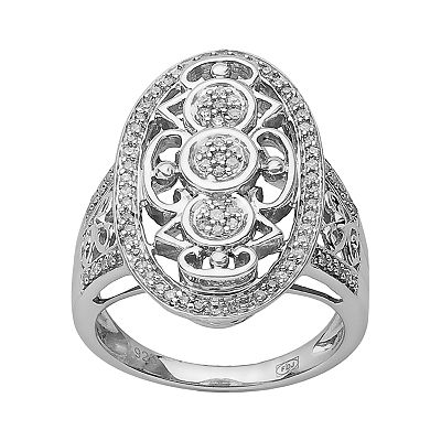 Sterling Silver 2/7-ct. T.W. Diamond Oval Filigree Ring