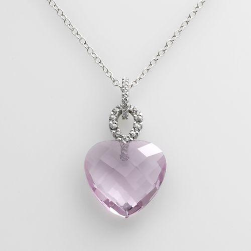 Sterling Silver Pink Quartz, White Topaz and Diamond Accent Heart Pendant