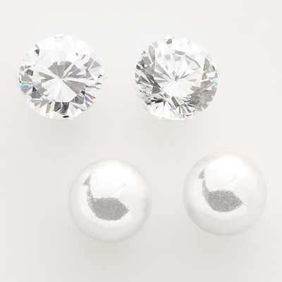 Sterling Silver Cubic Zirconia and Ball Stud Earring Set