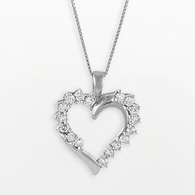 10k White Gold 1/2-ct. T.W. Diamond Heart Pendant