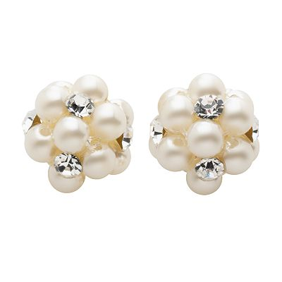 Croft and Barrow Simulated Pearl and Simulated Crystal Button Stud Earrings