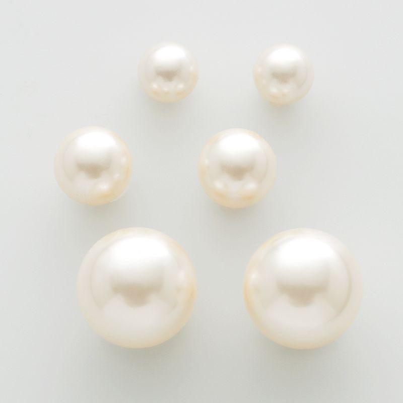 Gold-Tone Simulated Pearl Stud Earring Set, Women's, White