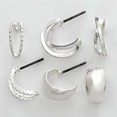 Napier® Silver Tone Hoop Earring Set