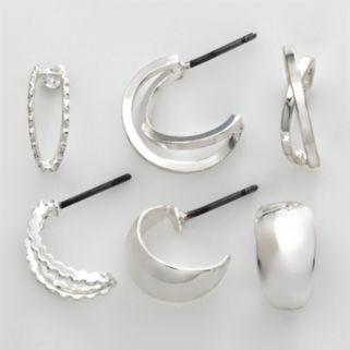 Napier Silver Tone Hoop Earring Set