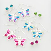 SO Silver-Tone Butterfly Drop and Stud Earring Set
