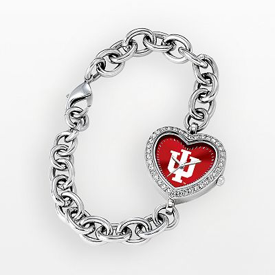 Game Time Indiana Hoosiers Stainless Steel Rhinestone Heart Watch - Women