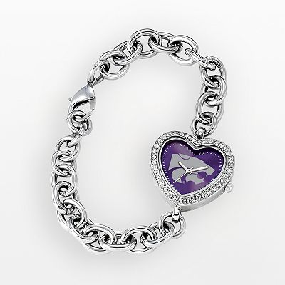 Game Time Kansas State Wildcats Stainless Steel Rhinestone Heart Watch - Women