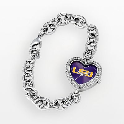 Game Time LSU Tigers Stainless Steel Rhinestone Heart Watch - Women
