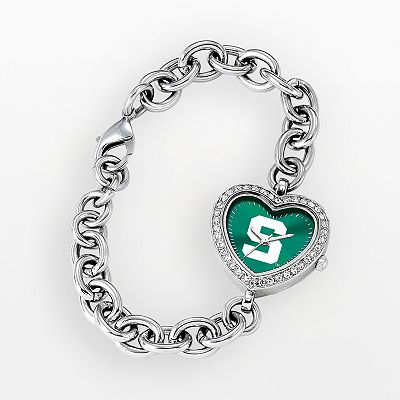 Game Time Michigan State Spartans Stainless Steel Rhinestone Heart Watch - Women