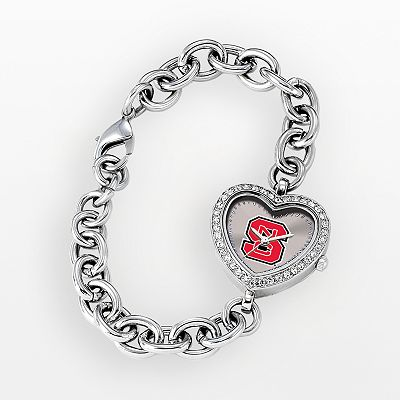 Game Time North Carolina State Wolfpack Stainless Steel Rhinestone Heart Watch