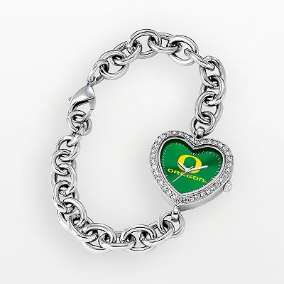 Game Time Oregon Ducks Stainless Steel Rhinestone Heart Watch - Women
