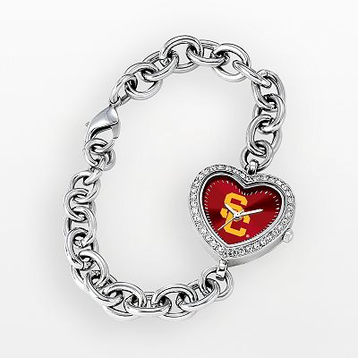 Game Time USC Trojans Stainless Steel Rhinestone Heart Watch - Women