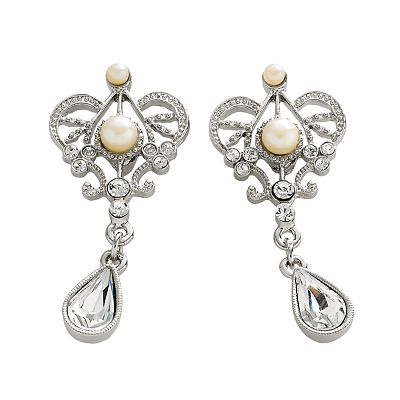 1928 Silver-Tone Simulated Crystal and Simulated Pearl Drop Earrings