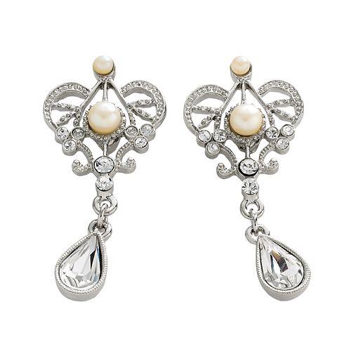 1928® Silver Tone Simulated Crystal & Simulated Pearl Drop Earrings