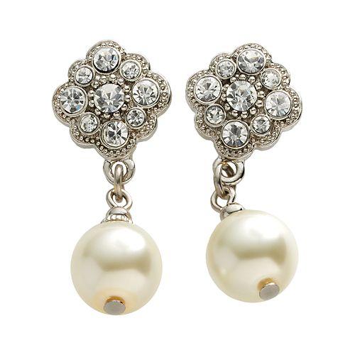 1928® Silver-Tone Simulated Crystal & Simulated Pearl Drop Earrings