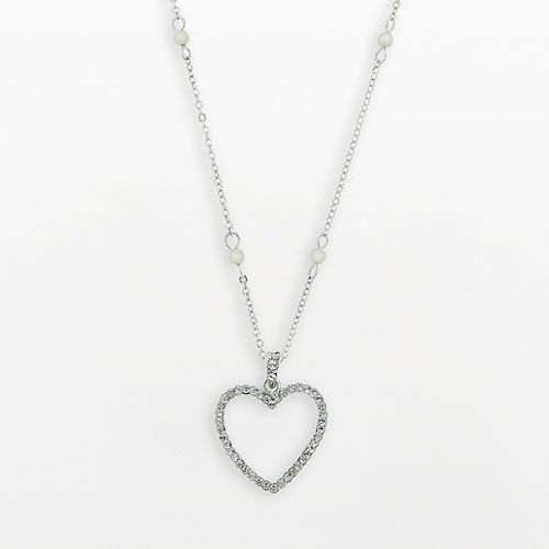 1928® Silver-Tone Simulated Crystal & Simulated Pearl Heart Pendant