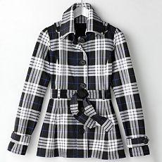 Self Esteem Plaid Fleece Trench Coat