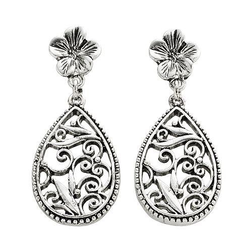 1928® Silver-Tone Floral Filigree Drop Earrings