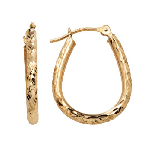10k Gold Twist U-Hoop Earrings