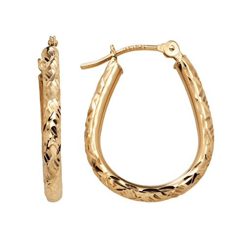 10k Gold Twist U-Hoop Earrings