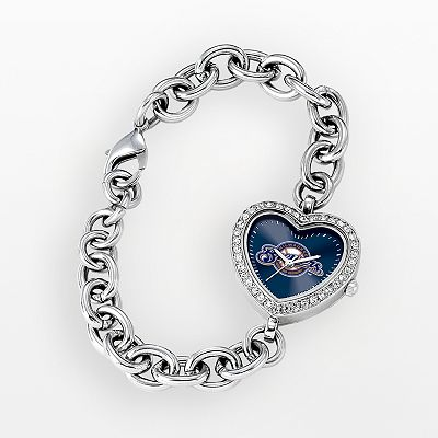 Game Time Milwaukee Brewers Stainless Steel Rhinestone Heart Watch - Women