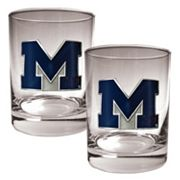 Michigan Wolverines 2 pc Rocks Glass Set