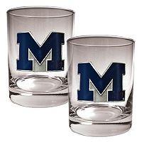 Michigan Wolverines 2 pc Rocks Glass Set