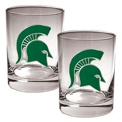 Michigan State Spartans 2 pc Rocks Glass Set