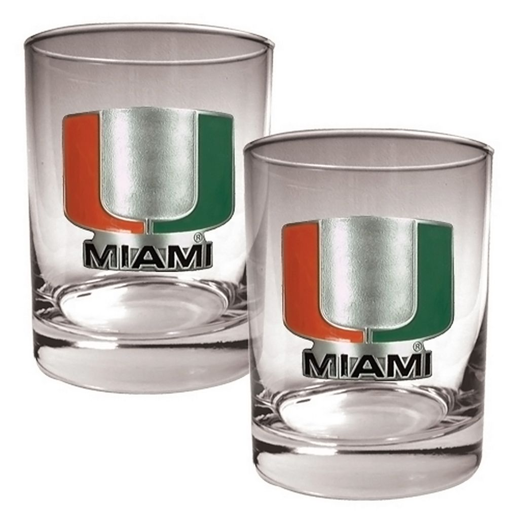 Miami Hurricanes 2-pc. Rocks Glass Set