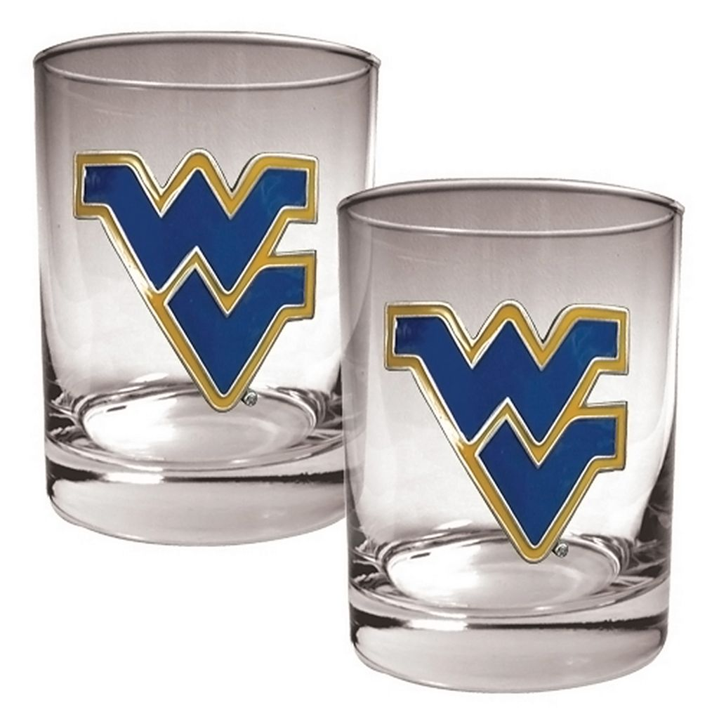 West Virginia Mountaineers 2-pc. Rocks Glass Set