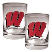 Wisconsin Badgers 2 pc Rocks Glass Set