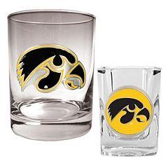 Iowa Hawkeyes 2 pc Rocks & Shot Glass Set