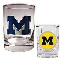 Michigan Wolverines 2 pc Rocks & Shot Glass Set