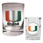 Miami Hurricanes 2 pc Rocks & Shot Glass Set