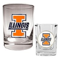 Illinois Fighting Illini 2 pc Rocks and Shot Glass Set