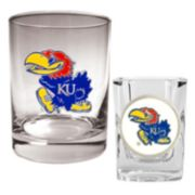 Kansas Jayhawks 2-pc. Rocks and Shot Glass Set