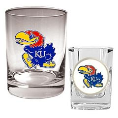 Kansas Jayhawks 2-pc. Rocks and Shot Glass Set