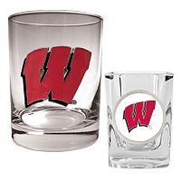 Wisconsin Badgers 2 pc Rocks and Shot Glass Set