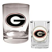 Georgia Bulldogs 2 pc Rocks and Shot Glass Set